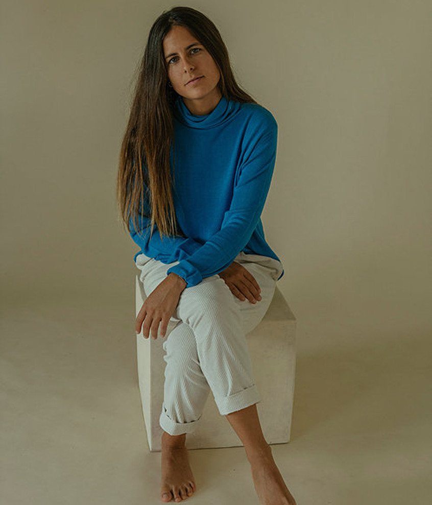 Blue Bamboo Turtle Neck